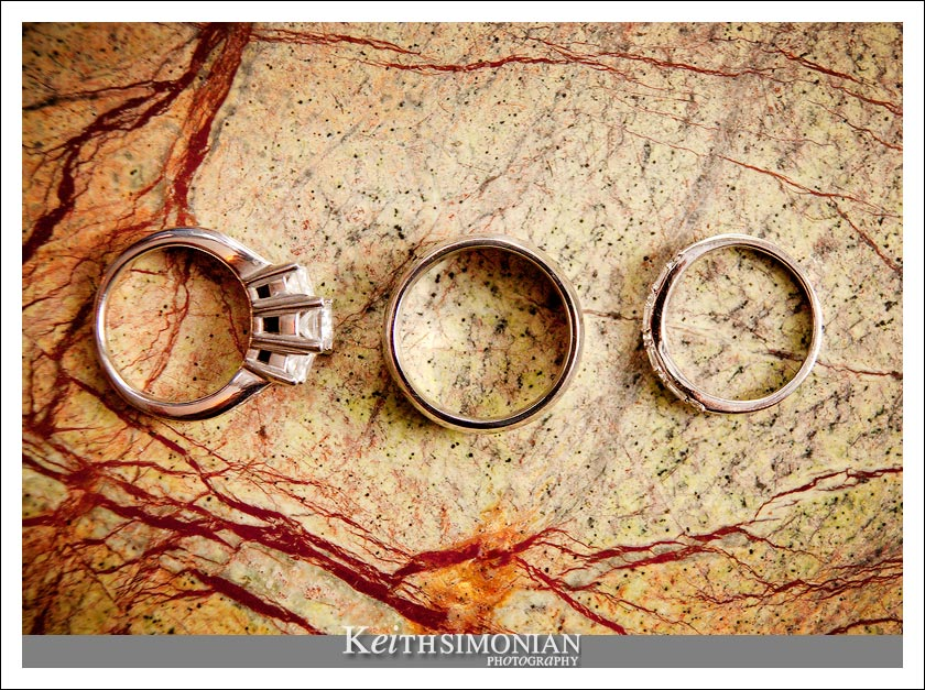 The wedding rings photographed on an 200 year old Italian marble table