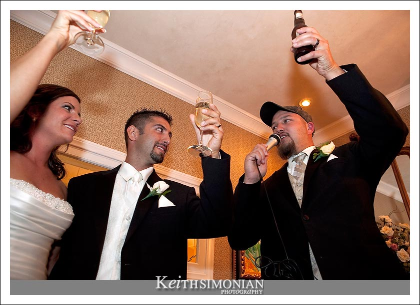 The best man salutes the bride and groom