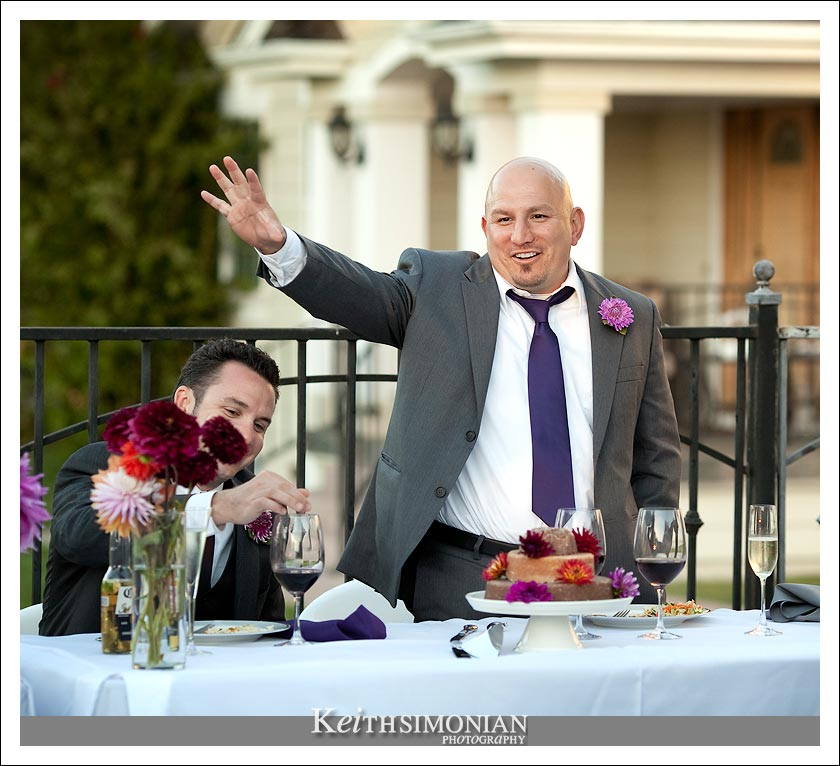 The best man toasts the bride and groom during the backyard reception in the Napa Valey