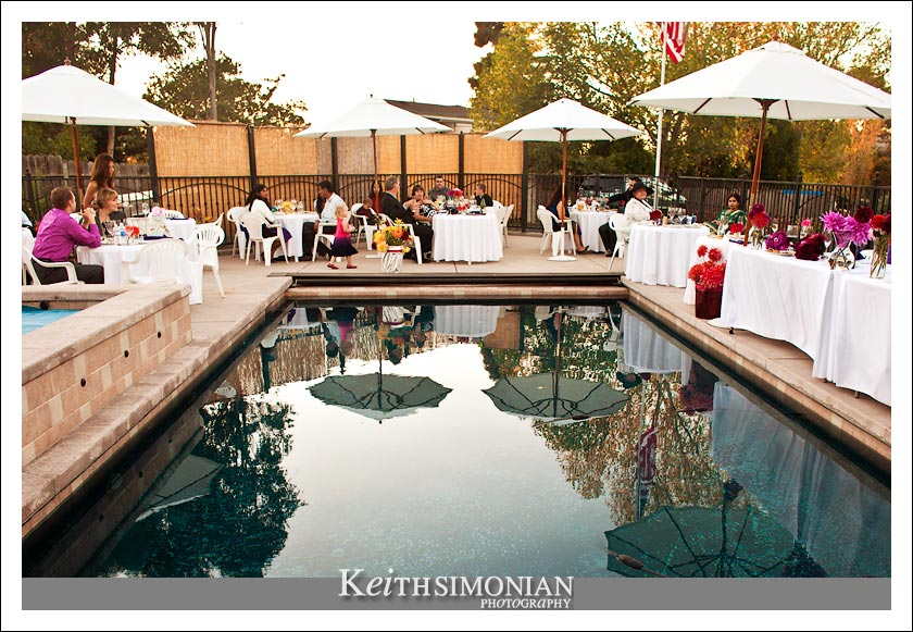 Backyard reception with a pool in the world famous Napa Valley