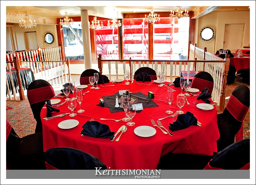 table setting in the Paddle Wheel Lounge on the Delta King Hotel