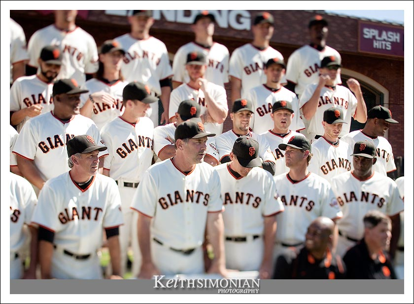 San Francisco Giants team manager Bruce Bochy during team photo at AT&T park