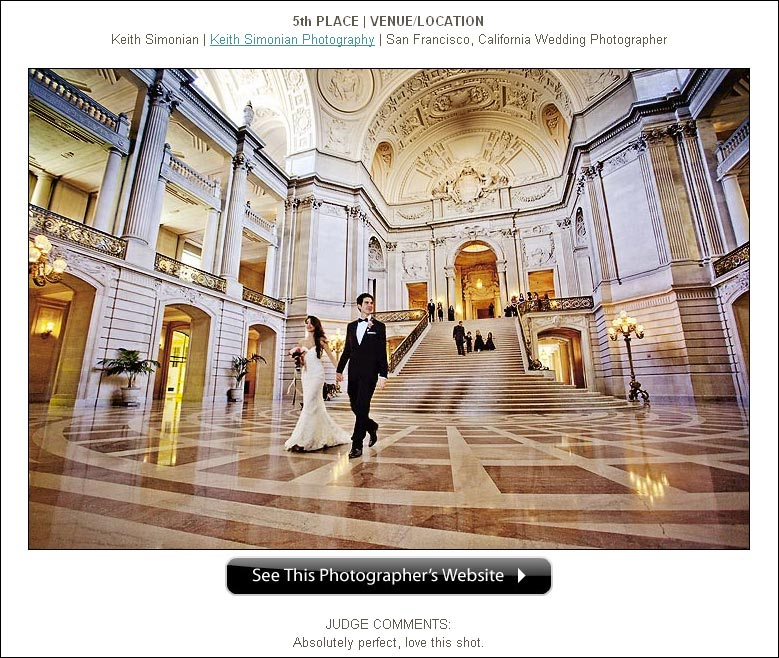 San Francisco City Hall award winning photo of bride and groom
