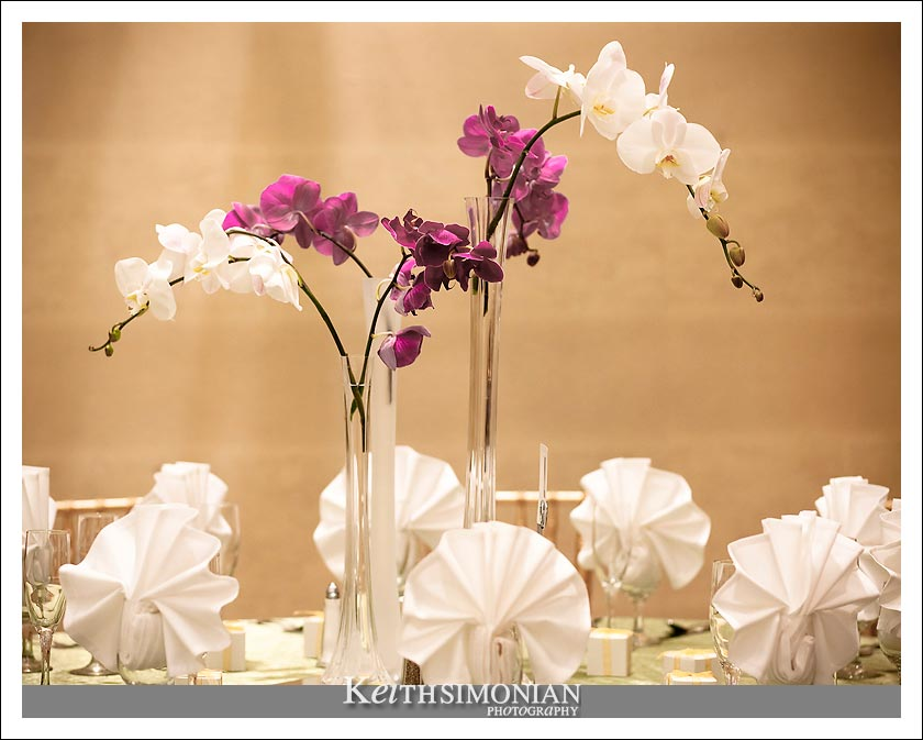 Photo of flowers on table for evening reception