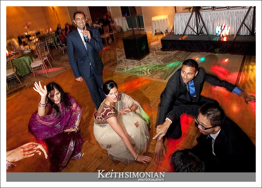 Wedding guests get down and funky during the reception