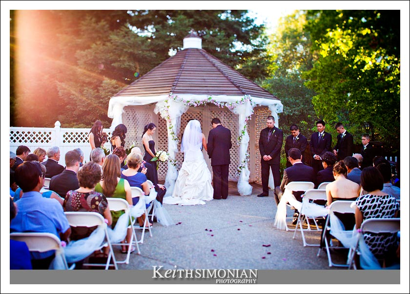 The wedding ceremony at sunset