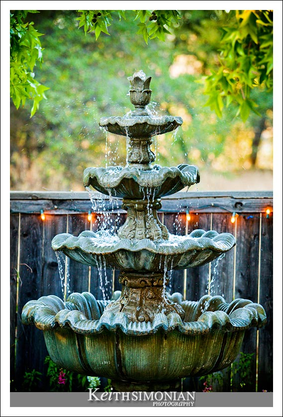 Water fountain at dusk