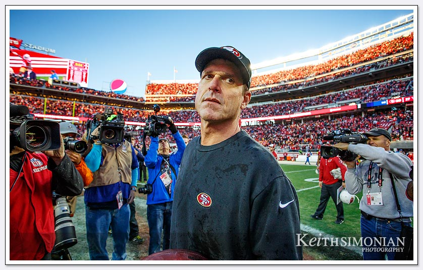 It was the last game as head coach of the San Francisco 49ers as they defeated the  Arizona Cardinals on December 28th, 2014 at Levi