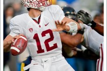 Stanford quarterback Andrew Luck prepares to throw a pass in the Big Game against Cal at Memorial Stadium in Berkeley, CA