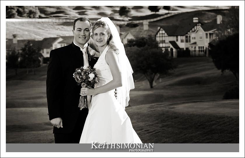Black and white photo of bride and groom at Hiddenbrooke Golf club - Vallejo, California