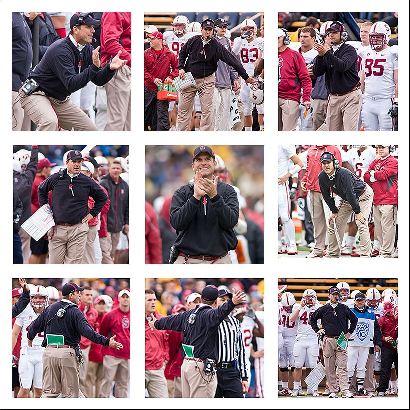 Jim Harbaugh coaches his last Big Game against the Golden Bears of California at Memorial Stadium in Berkeley - November 2010