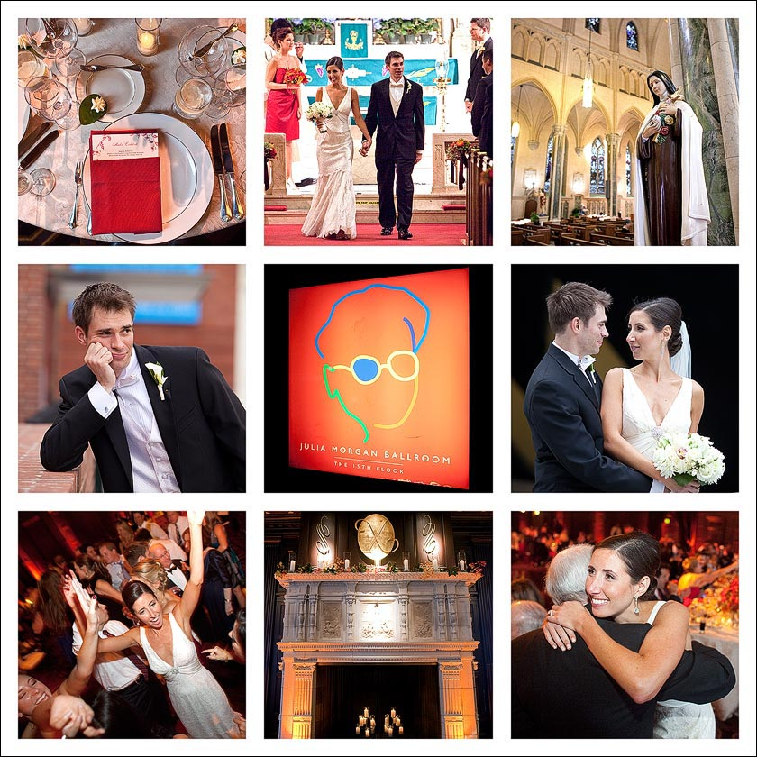 Photo cube with the groom, the bride, fireplace, table setting, St Patrick's church, father of the bride, bride dancing, the Julia Morgan Ballroom in the Merchants Exchange building in San Francisco, CA