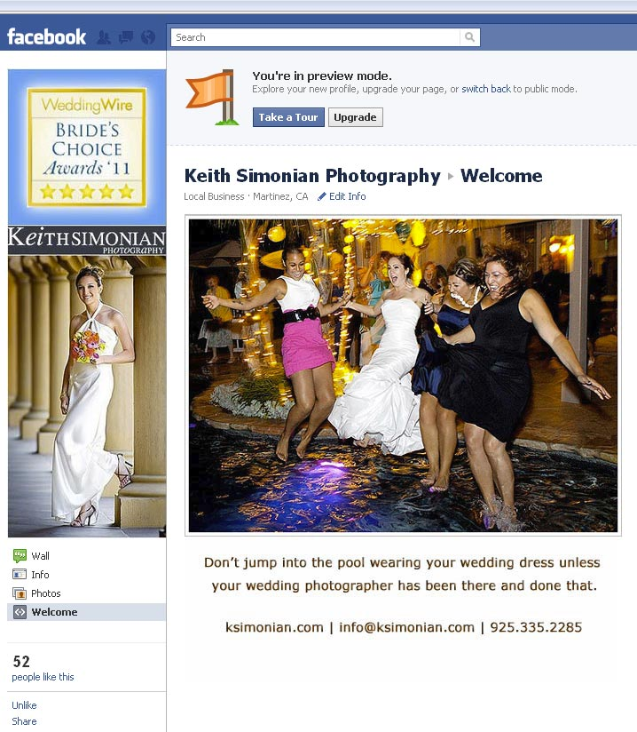 Facebook page with new welcome size image - 493 pixels wide