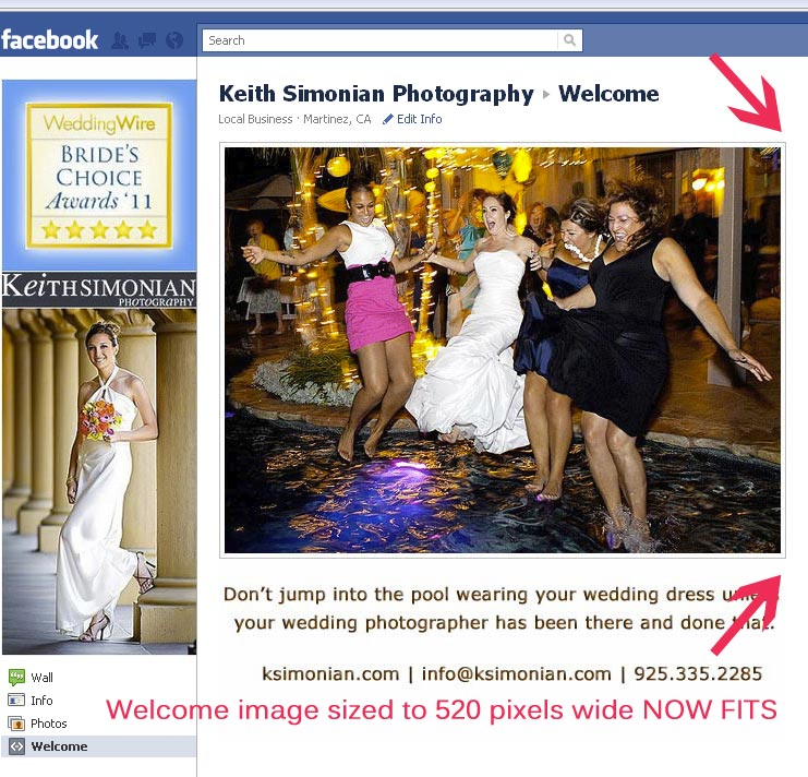 New facebook design with 520 pixel wide photo that fits
