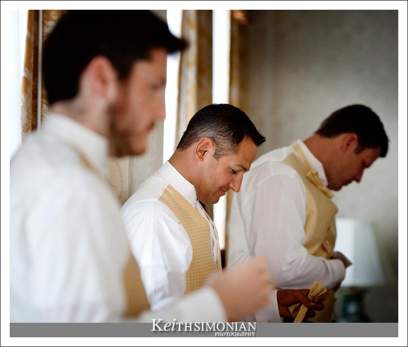 Groomsmen getting ready at the Omni Hotel - San Francisco