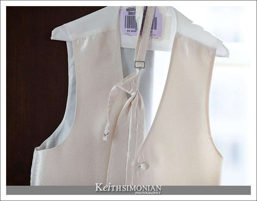 Groom's vest and tie on a hanger - Omni Hotel - San Francisco