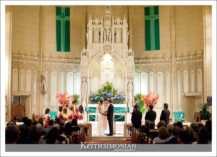 Bride and groom exchange vows at St Patrick's church in San Francisco