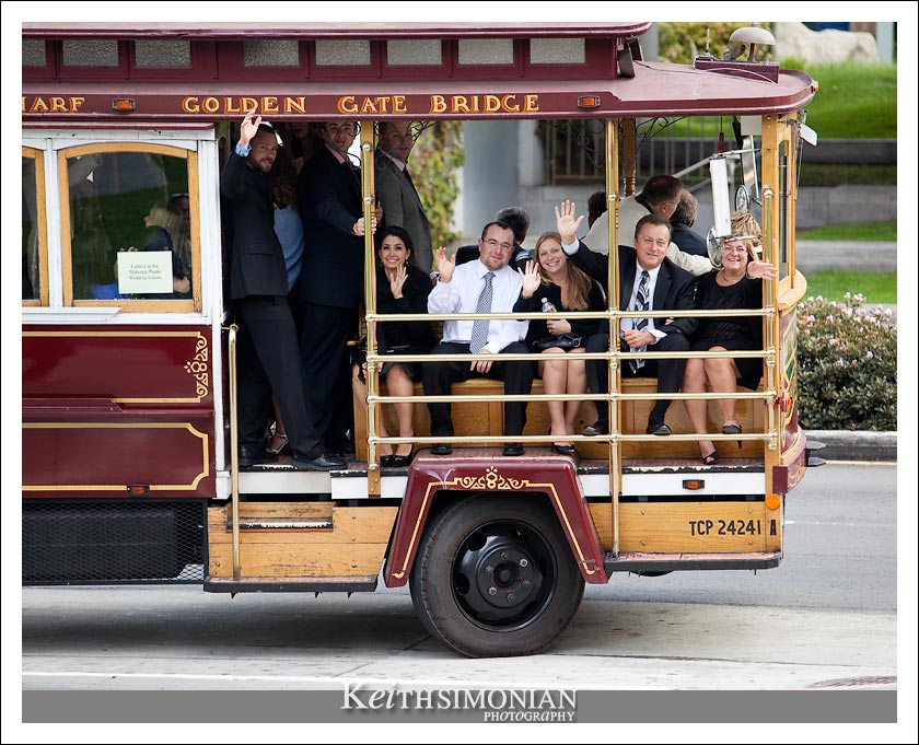 Friends and family take the cable car to the Julia Morgan ballroom in San Francisco