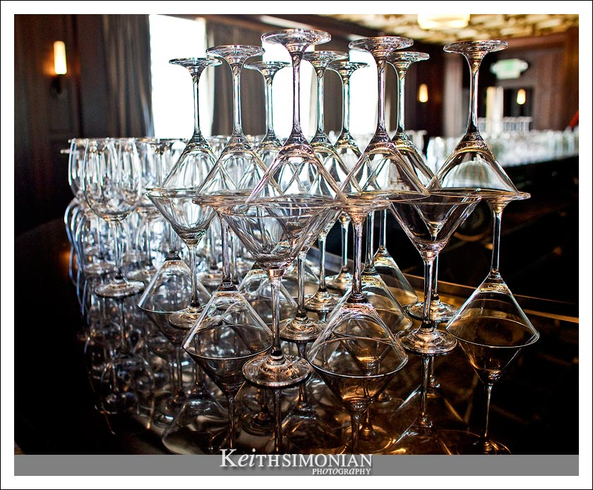 Martini glasses  and their reflections at the Julia Morgan Ballroom in Merchants Exchange building in San Francisco