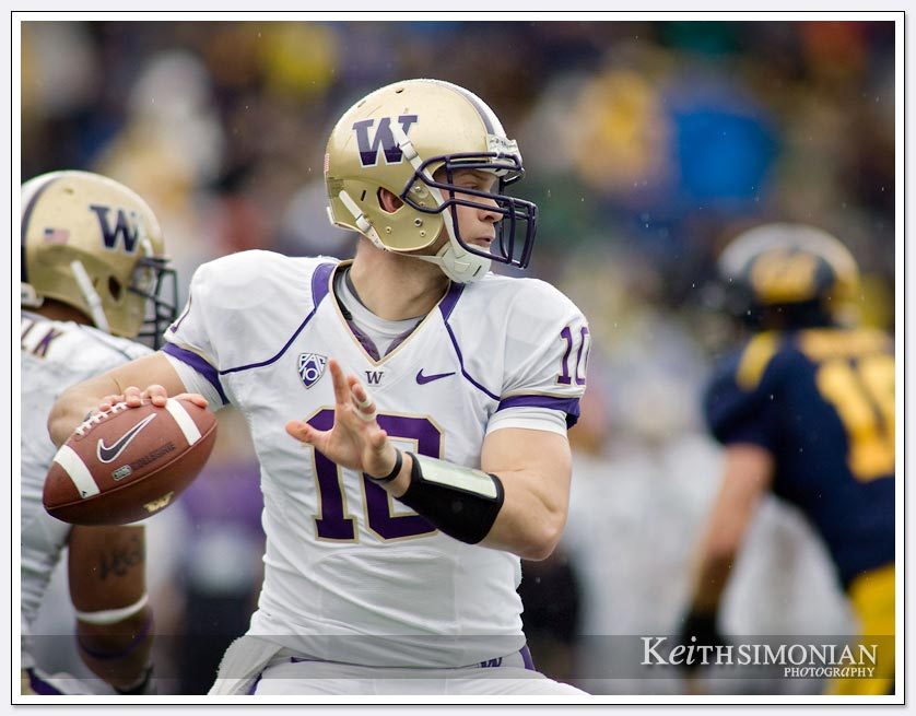 University of Washington quarterback Jake Locker looks for a receiver during a November game against the University of California at Berkeley.