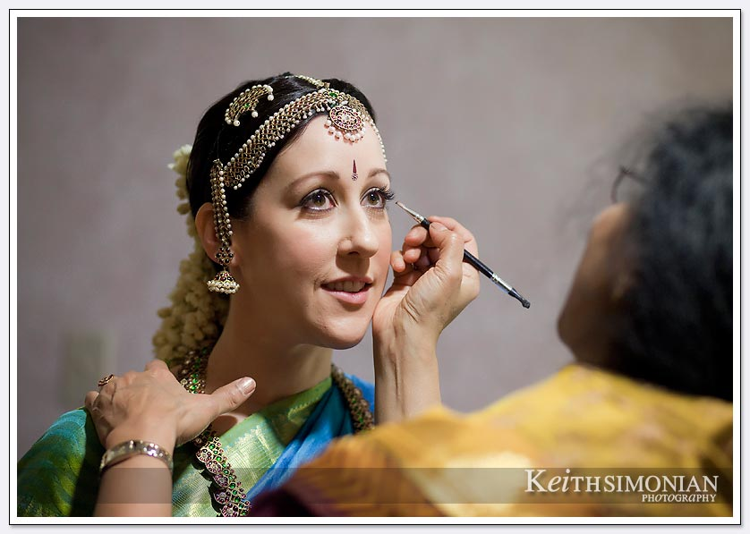 The bride gets ready at the Hawthorne Suites Hotel in Livermore for her morning Hindu wedding ceremony