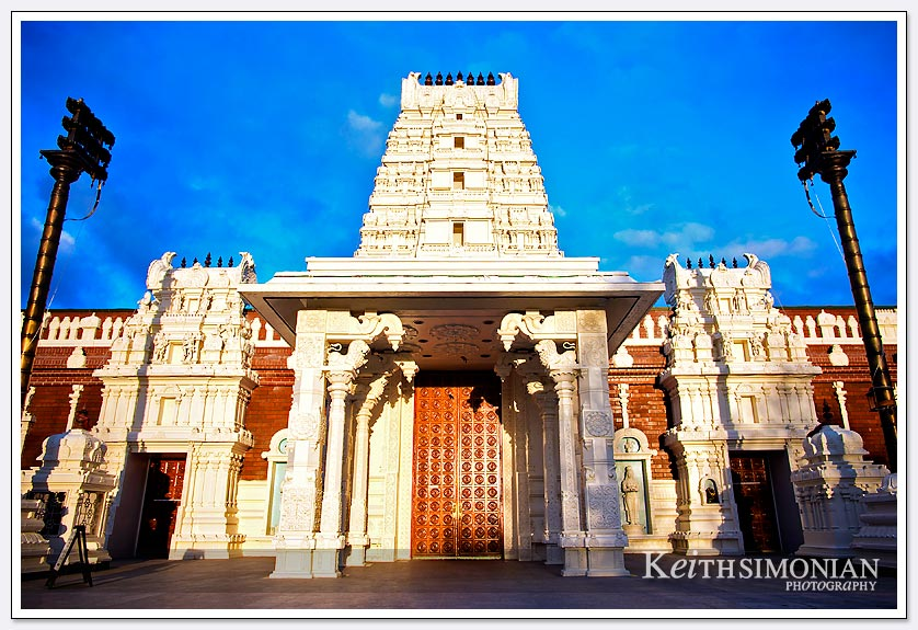 The early morning light casts a warm color on the Shiva-Vishnu Temple in Livermore, California