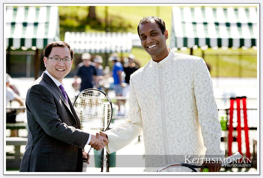 The groom and friend shake hands after some tennis at the Castlewood Country Club in Pleasanton, California