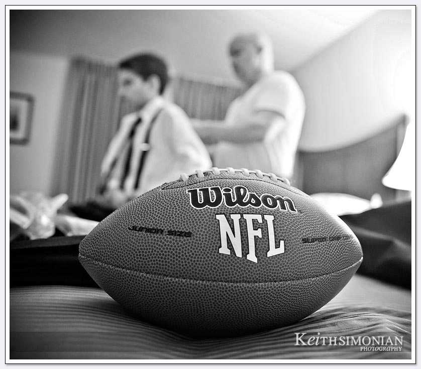 NFL themed wedding reception