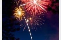 Fireworks light up the sky at dusk.