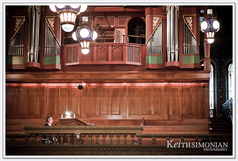 Organist plays during the wedding ceremony at Stanford Memorial Church
