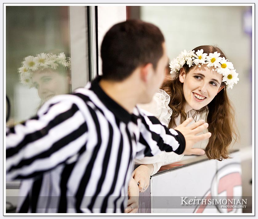 Bride and referee at Silver Creek sportsplex