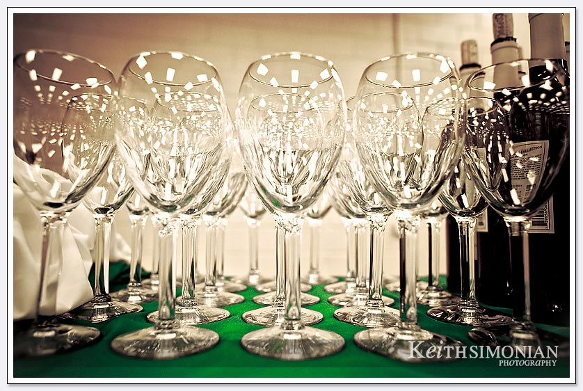 Wine glasses lined up for the reception guests