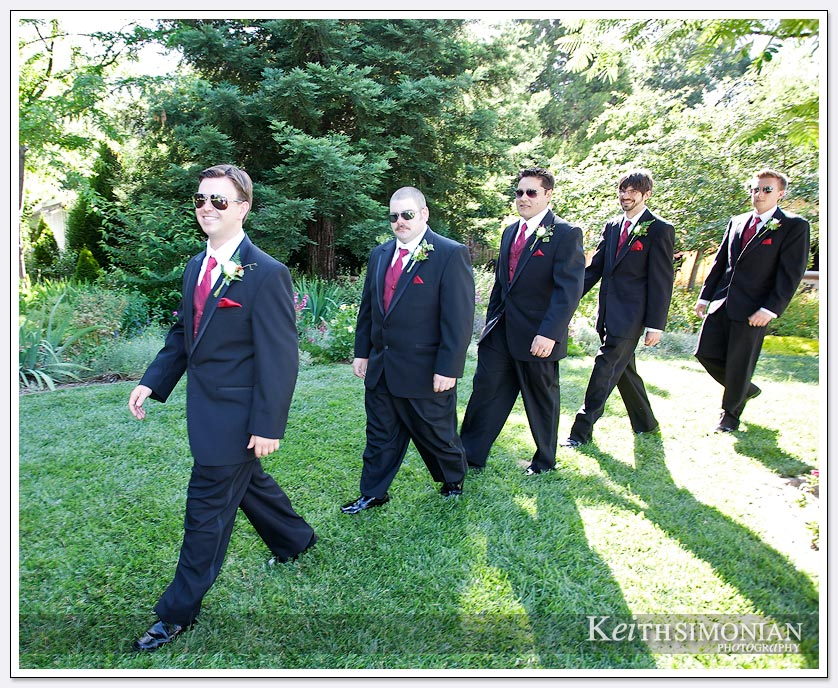 Groomsmen walk in for the ceremony