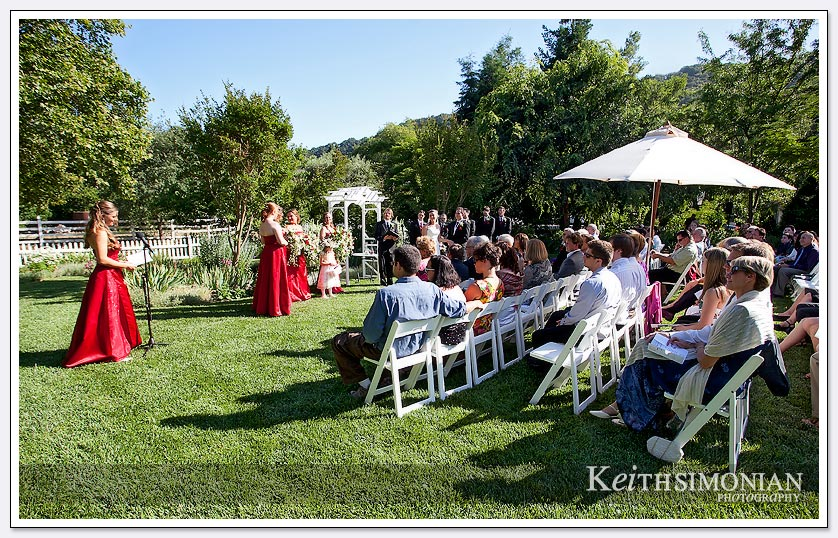 bridesmaid speaking during ceremony
