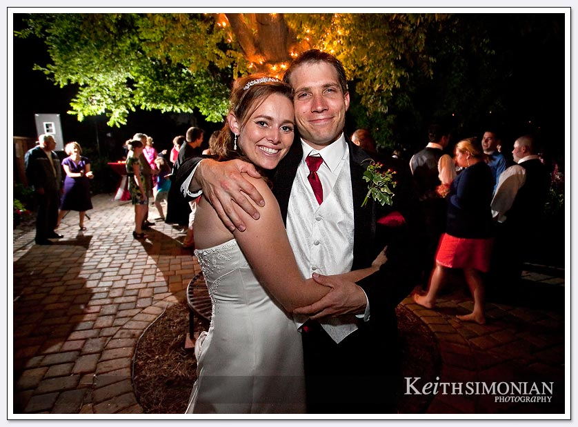 Evening photo of bride and groom