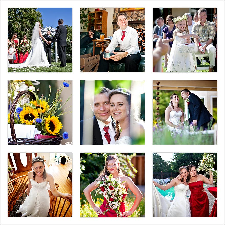 Nine square of wedding day photos
