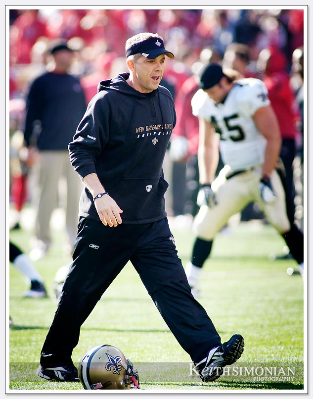 Things were all smiles for Saints head coach Sean Payton before this 2012 playoff game.