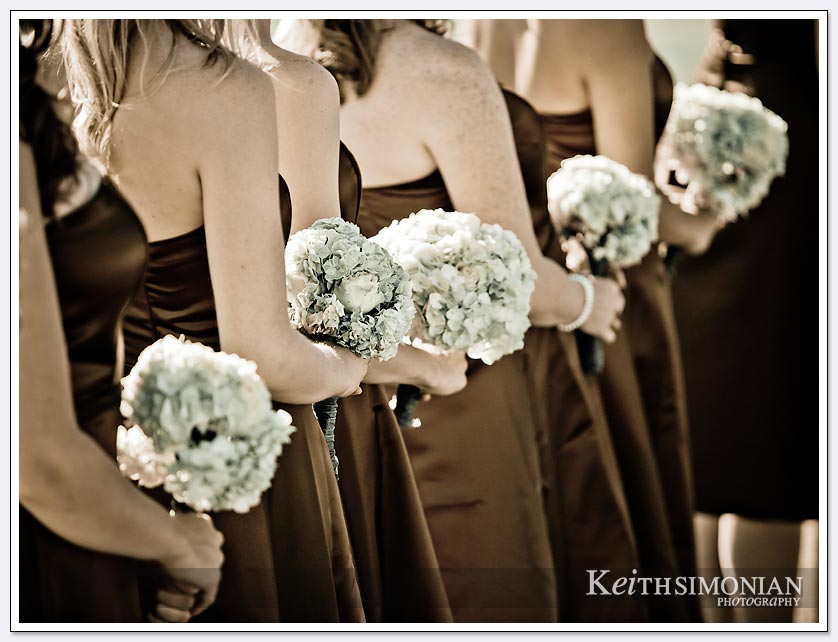 The bridesmaids and their flowers lined up in a row