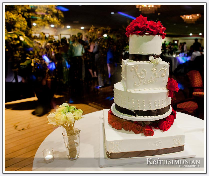 the white wedding cake frames the photo of the reception