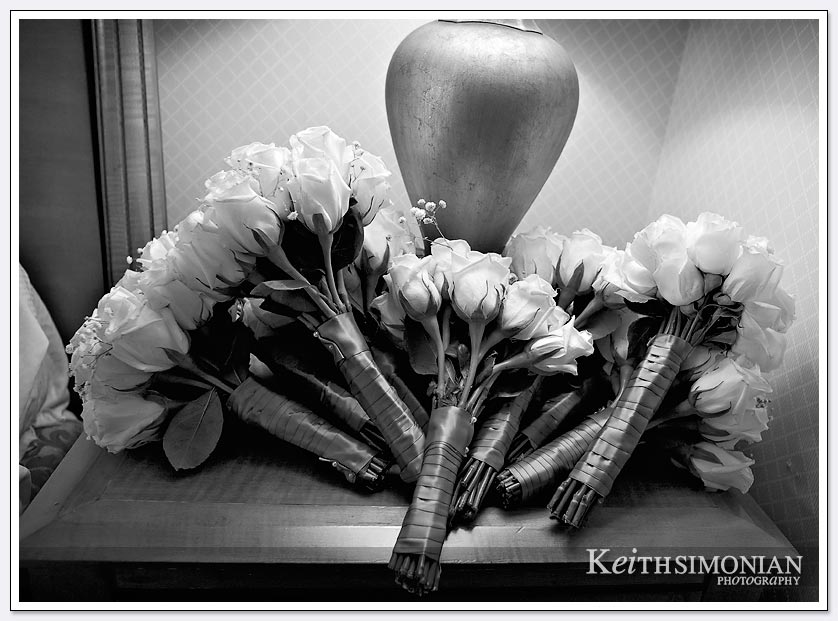 Black and white photo of brides maids flowers at Newark Hilton Hotel