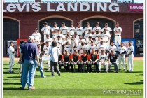 Players, coaches, and staff get ready for the San Francisco Giants 2012 Team picture