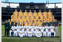 Oakland Athletics team photo in center field of O. co Stadium