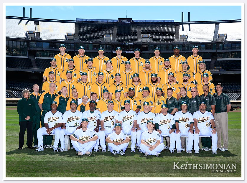 Oakland A's team photo in center field of O. co Stadium
