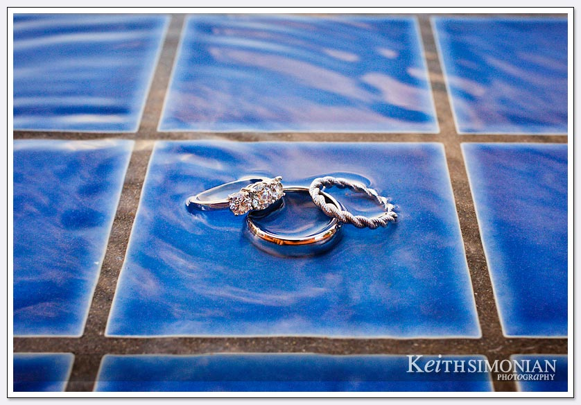 Ring photo on the blue tile of the swimming pool