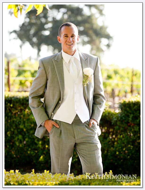 The groom in a backlit photo at the napa valley home the wedding took place