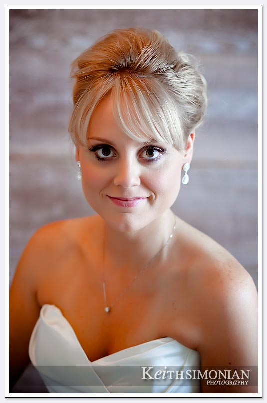 The shallow depth of field and clean background makes this bridal portrait special