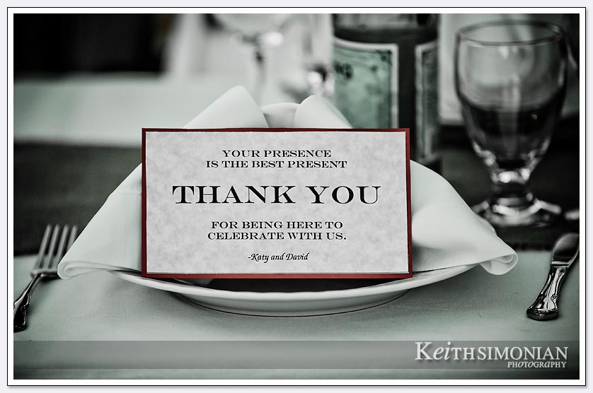 A note thanking each guest awaits them at the wedding day reception in the Napa valley backyard