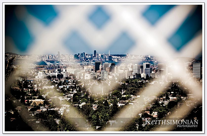 The San Francisco Bay viewed through a decorative fence at the Oakland LDS temple