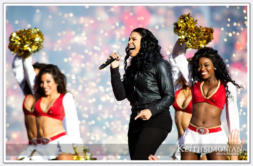 Pom Poms, 49ers cheerleads,a and fireworks highlight the halftime show by Jordin Sparks
