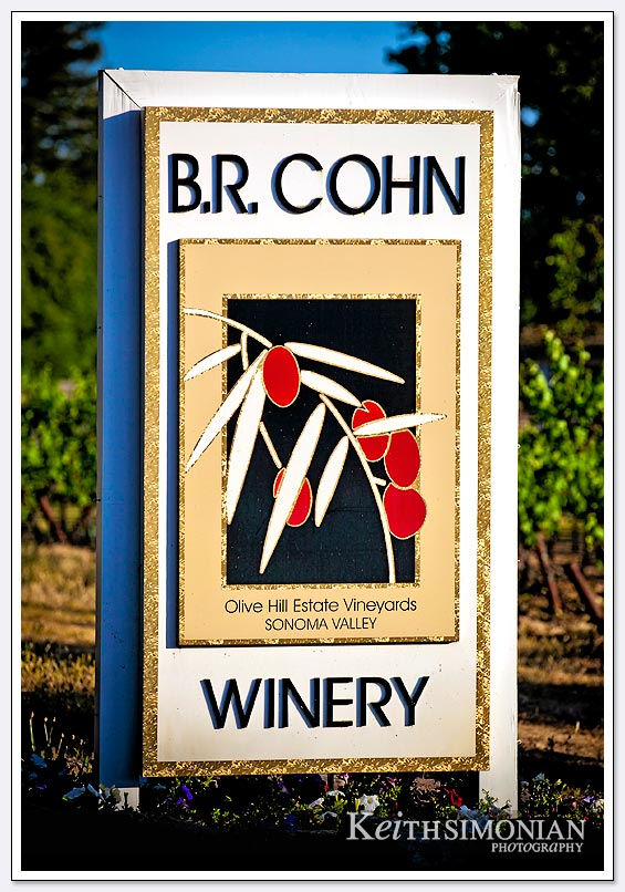 Guests to the BR Cohn winery view this sign as they enter the premises